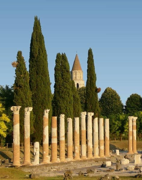 Ancient Roman columns in Aquileia