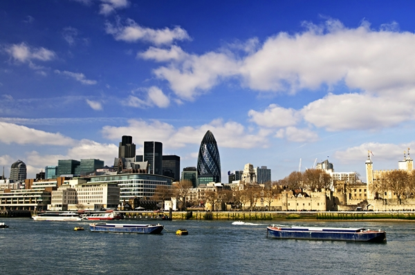 London skyline view from Thames river