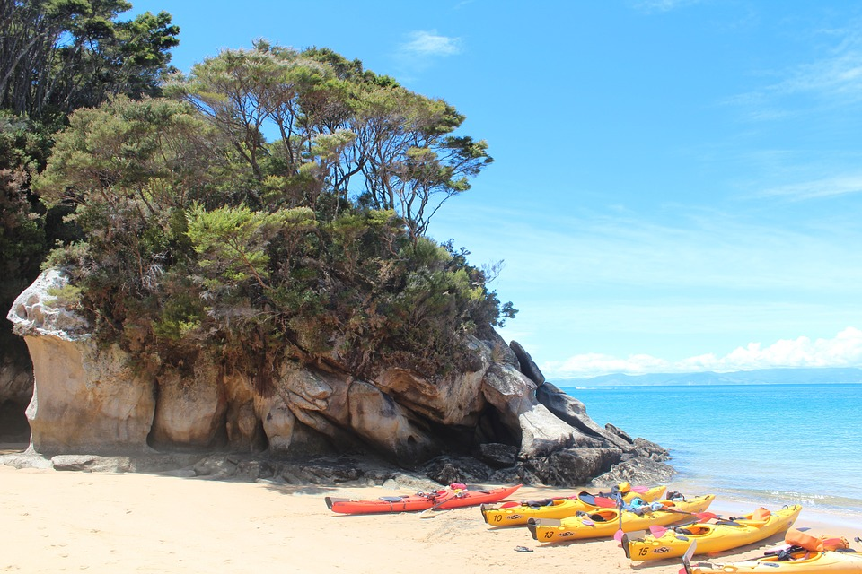 Kayaks ready for Abel Tasman National Park